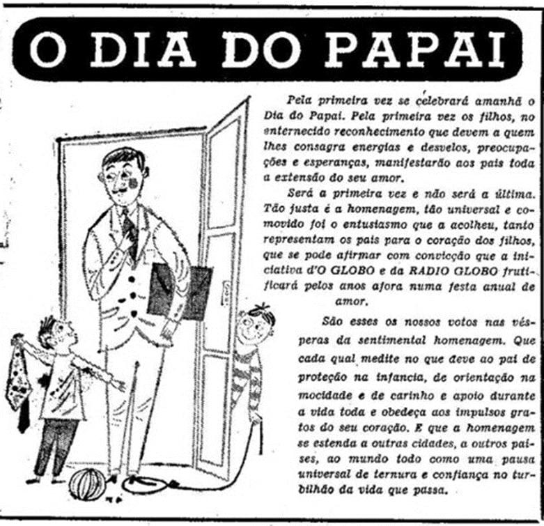 Publicação do Jornal O Globo, em comemoração ao dia dos Pais, em 1953
